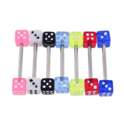 "Lex and Lu 7 Pack Steel Barbell 14 Gauge 5/8"" Long w/ UV Acrylic Dice"
