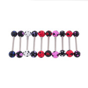 "Lex and Lu 10 Pack Steel Barbell 14 Gauge 5/8"" Long  w/Acrylic Polka Dotted Balls"