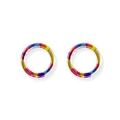 "Lex and Lu Pair of Titanium Seamless Captive 10 Gauge 7/16"" Dia Rainbow"