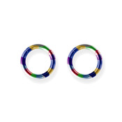 "Lex and Lu Pair of Titanium Seamless Captive 12 Gauge 3/8"" Dia Rainbow"