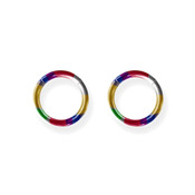 "Lex and Lu Pair of Titanium Seamless Captive 14 Gauge 3/8"" Dia Rainbow"
