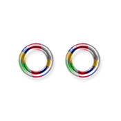 "Lex and Lu Pair of Titanium Seamless Captive 6 Gauge 1/2"" Dia Rainbow"