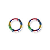"Lex and Lu Pair of Titanium Seamless Captive 8 Gauge 1/2"" Dia Rainbow"