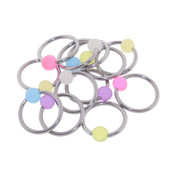 "Lex and Lu 6 Pack Pair of Steel Captives w/Glow in Dk 4mm Acrylic Balls 16 Gauge 3/8"" Dia"