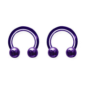 "Lex and Lu Pair of Titanium Circular Barbells 10 Gauge 3/8"" Dia w/5mm Balls Blue/Purple"