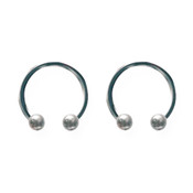"Lex and Lu Pair of Titanium Circular Barbells 18 Gauge 3/8"" Dia w/3mm Balls Uncolored"