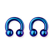 "Lex and Lu Pair of Int Thrd Titanium Circular Barbells 4 Gauge 1/2"" Dia Blue/Purple"