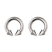 "Lex and Lu Pair of Titanium Circular Barbells 10 Gauge 7/16"" Dia w/5mm Cones Uncolored"