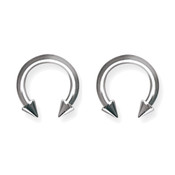 "Lex and Lu Pair of Titanium Circular Barbells 10 Gauge 1/2"" Dia w/5mm Cones Uncolored"