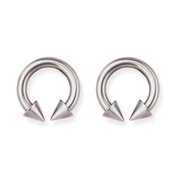 "Lex and Lu Pair of Titanium Circular Barbells 8 Gauge 1/2"" Dia w/6mm Cones Uncolored"