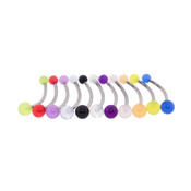 "Lex and Lu 11 Pack Steel Belly Ring 14 Gauge 7/16"" Long w/UV Sensitive Acrylic 4x6mm Balls"
