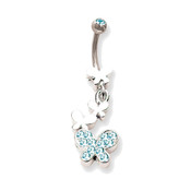 "Lex and Lu Steel Belly Ring 14 Gauge 7/16"" Long w/Butterfly Drop Dangle Blue Zircon"