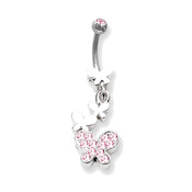 "Lex and Lu Steel Belly Ring 14 Gauge 7/16"" Long w/Butterfly Drop Dangle Pink"