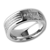 Mens Stainless Steel Black Rope W/ Cz Cross 8mm Band Ring-Lex and Lu