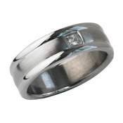 Mens Stainless Steel Brushed Polished w/Cz 7mm Band Ring-Lex and Lu