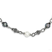 Lex and Lu Sterling Silver FW Cultured Black & White Pearl Necklace QTC449