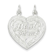 Lex and Lu Sterling Silver Best Friend 2-piece break apart Heart Charm