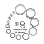 "Lex and Lu Pair of Steel Tunnel Ear Plugs w/Threaded Side 10G Thru 1 1/8"" Gauge"