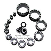 """Lex and Lu Pair of Steel Black Threaded Tunnel Plugs w/Clear Gems-10G to 1"""""""