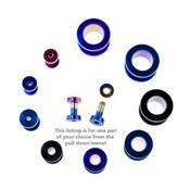"Lex and Lu Pair of Steel Plated Tunnel Plug Ear Gauges w/Threaded Side 10G-1/2"" Gauge"