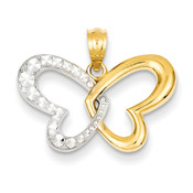 14k Yellow Gold & Rhodium Plated D/C Butterfly Pendant D4379-Lex and Lu