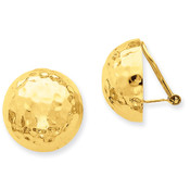 14k Omega Clip 18mm Hammered Non-pierced Earrings H889-Lex and Lu
