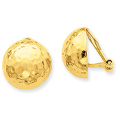 14k Omega Clip 16mm Hammered Non-pierced Earrings H890-Lex and Lu