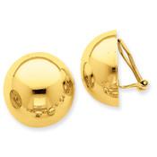 14k Omega Clip 20mm Half Ball Non-pierced Earrings H896-Lex and Lu