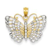 14k Yellow Gold & Rhodium D/C Butterfly Pendant K3236-Lex and Lu