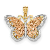 14k Y/R Gold w/ Rhodium Polished Cut-out 2-level Butterfly Pendant K5324-Lex and Lu
