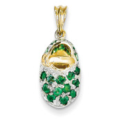 14k Yellow Gold & Rhodium Prong-Set May/Emerald Baby Shoe Charm K550-Lex and Lu