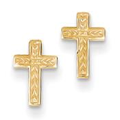 14k Polished Cross Post Earrings TC628-Lex and Lu