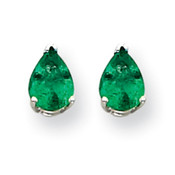 14k White Gold Emerald Earrings XE80WE-B-Lex and Lu