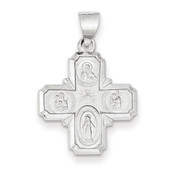 14k White Gold Polished and Satin Four Way Medal Pendant XR1282-Lex and Lu
