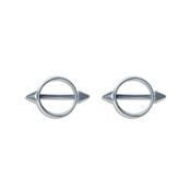 Lex and Lu Pair of Steel Spike Barbell w/Nipple Tube Shield Ring 14 Gauge