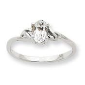 10k White Gold Polished Geniune White Topaz Birthstone Ring 10XBR145 Size 6-Lex and Lu
