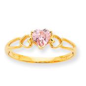 10k Polished Geniune Pink Tourmaline Birthstone Ring 10XBR163 Size 6-Lex and Lu