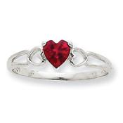 10k White Gold Polished Geniune Ruby Birthstone Ring 10XBR172 Size 6-Lex and Lu