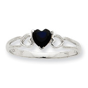 10k White Gold Polished Geniune Sapphire Birthstone Ring 10XBR174 Size 6-Lex and Lu