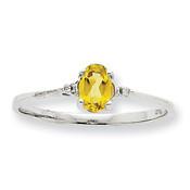 10k White Gold Polished Geniune Diamond & Peridot Birthstone Ring 10XBR221 Size 6-Lex and Lu