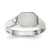 14k White Gold Signet Ring RS642 Size 3-Lex and Lu