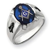 14k White Gold Men's Masonic Ring Y4067M Size 10-Lex and Lu