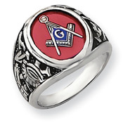 14k White Gold Men's Synthetic Ruby Masonic Ring Y4071M Size 10-Lex and Lu
