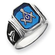 14k White Gold Men's Masonic Ring Y4087M Size 10-Lex and Lu