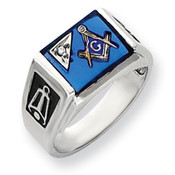 14k White Gold AA Diamond Men's Masonic Ring Y4111AA Size 10-Lex and Lu