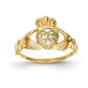 14ky 1/10ct AA Diamond Claddagh Ring Y6307AA Size 6-Lex and Lu