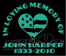 USA Stars & Stripes In Loving Memory Of... 5 Memorial decal Sticker