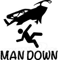 Sled Snowmobile Man Down Decal Sticker