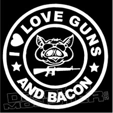 Pigbucks I Love Guns & Bacon Decal Sticker