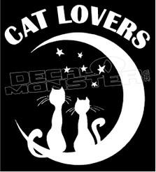 Cat Lovers Moon Stars Decal Sticker
